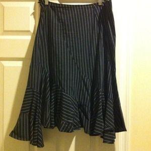 AX navy and white pinstriped ruffled skirt
