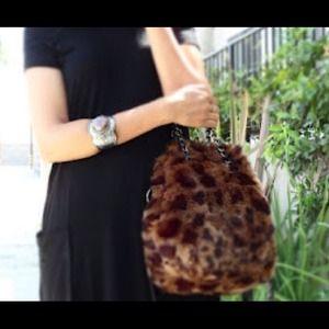 Fur leopard bucket bag (reduced 35 to 25)