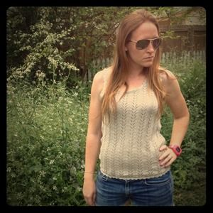 Crocheted Cable Knit Scalloped Edge Tank