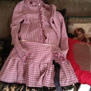Pink and black light weight skirt and jacket.