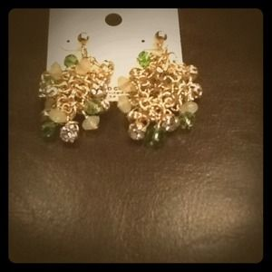 Jewelry - Dangle gold and multi green green earrings.