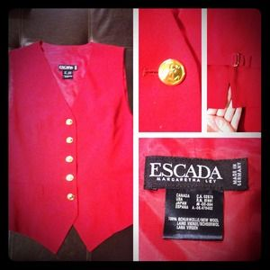 Escada Outerwear - Rose Red Escada Buttoned Vest