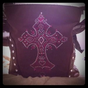 Handbags - Gorgeous Rhinestone Leather Purse