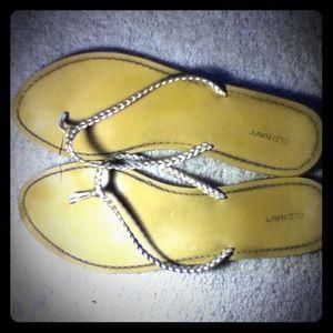 gold braided flip flops