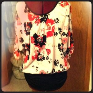 Tops - Floral/sequin tunic shirt. Candies. XL.