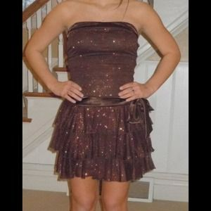 Brown with glitter dress