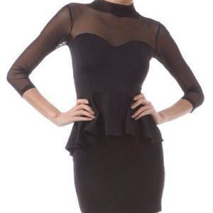Peplum Mesh Mini Dress