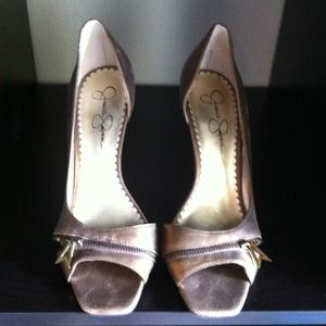 Jessica Simpson Shoes - REDUCED! Jessica Simpson bronze peep toe pumps