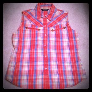 Tops - Western style plaid shirt