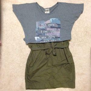 BNWT, army green skirt