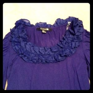 Forever 21 Tops - Blue Ruffle Shirt