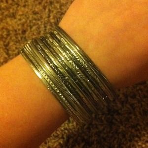 Gun metal and silver bangles