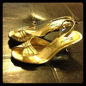Renica Shoes - RESERVED @blonde1331 Gold &Clear PeepToeSlingbacks