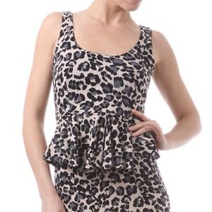 Dresses - Reduced Animal Print Peplum Dress 1