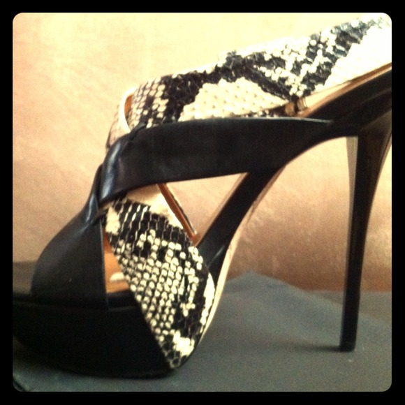 L.A.M.B. Shoes - L.A.M.B black&python sky high platform heels