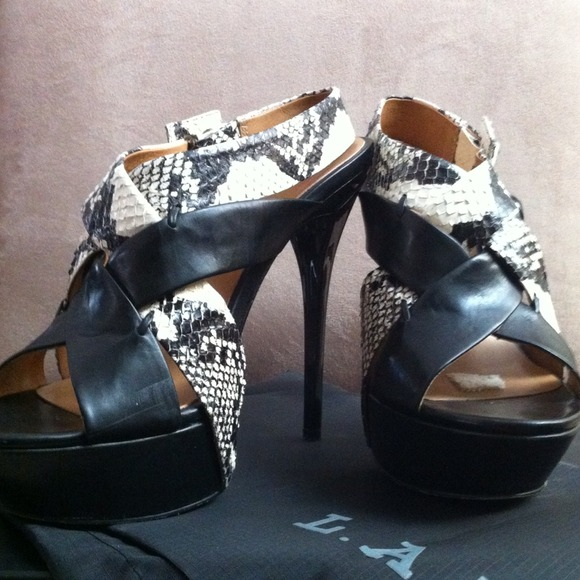 L.A.M.B. Shoes - L.A.M.B black&python sky high platform heels 2