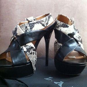 L.A.M.B. Shoes - L.A.M.B black&python sky high platform heels