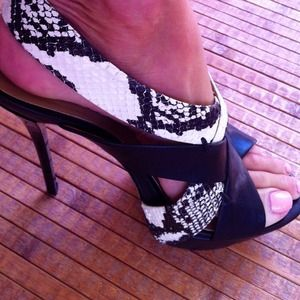 L.A.M.B. Shoes - L.A.M.B black&python sky high platform heels 4