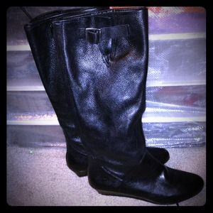 Cathy Jean Boots - ✋Rsvd for @neyy_89 ✋Wedged Leather Black Boots