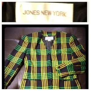 Jones New York Jackets & Blazers - 🎉HP 8/24 🎉 Green & Yellow Rad in Plaid Blazer