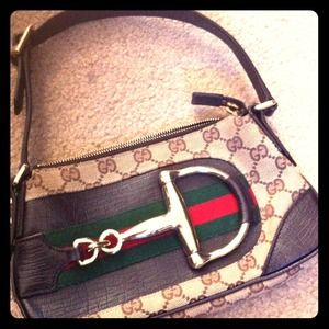 Gucci canvas small bag w/ horsebit hardware