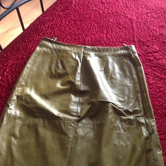 87% off GAP Dresses & Skirts - ❤Olive green leather skirt❤. A ...