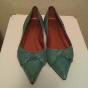 Nine West Shoes - REDUCED Antiqued Blue Nine West Bow Toe Flats