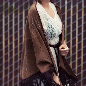 Vintage Outerwear - LOWERED! Vintage leather shawl FAVORITE PIECE!