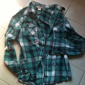 Tops - Teal plaid flannel