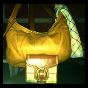 Authentic Leather Coach handbag & wallet