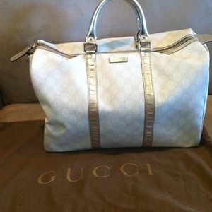 Gucci Handbags - Reserved- White Gucci & Silver Metallic Bag
