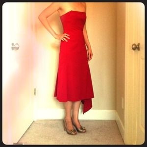 BCBG strapless red dress