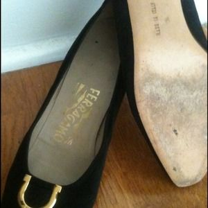 Salvatore Ferragamo Shoes - Vintage Iconic Black Suede Ferragamo Heels
