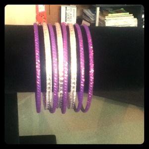 8 purple glitter bracelets
