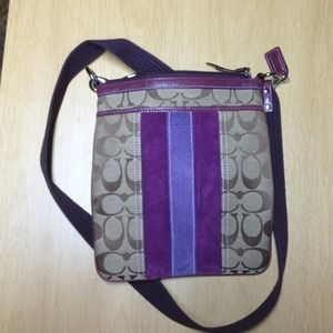 Coach Handbags - Purple trim sling bag