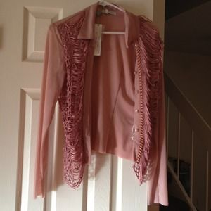 Tops - Stunning light mauve button down say into night.