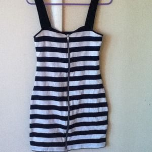 Black and white stripe body con dress H&M, size 8