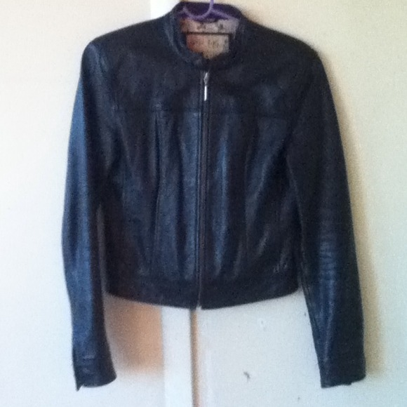 miss top gun Jackets & Blazers - Black Leather Biker Jacket