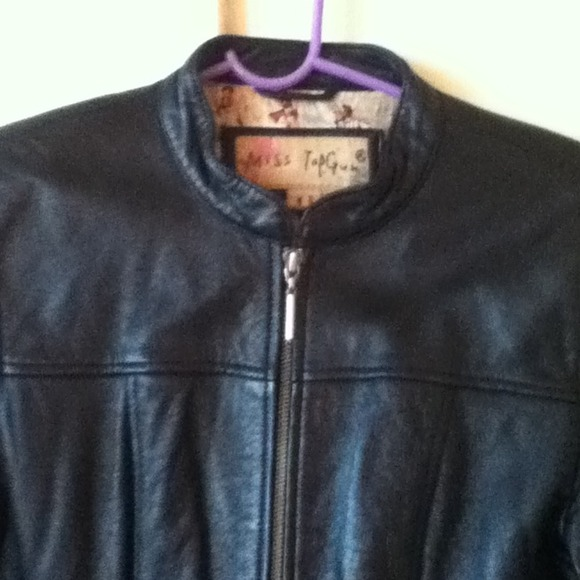 miss top gun Jackets & Blazers - Black Leather Biker Jacket 2