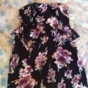 Black, flower print peplum dress