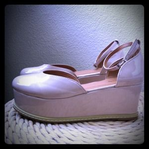 "Shoes - RESERVED: cream patent ""flatform"" wedges"