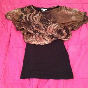 reducedAnimal print top dress w/ black bottom
