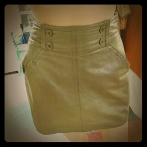 Dresses & Skirts - Olive Green Genuine Leather High-waisted skirt