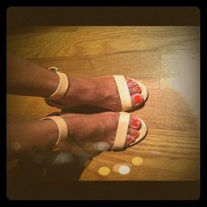 Tan Rose Ankle-Wrap Heels
