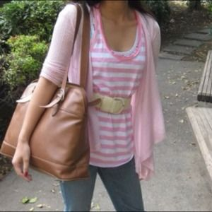 Hollister Tops - Pink and white striped Hollister tank
