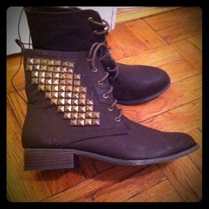 Forever 21 Shoes - Brown Studded Padock Boots Shoes