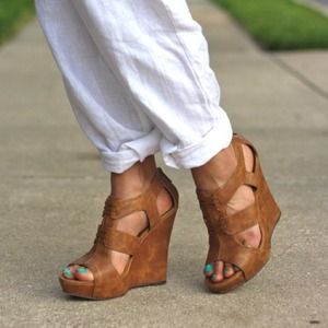 Michael Antonio Shoes - Tan Wedge Sandals