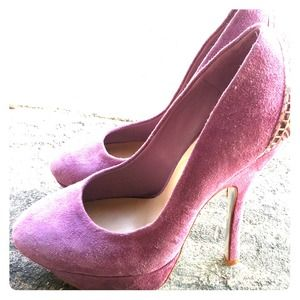 Halston  Shoes - Reduced! Lilac Suede Halston Pumps w/ gold details