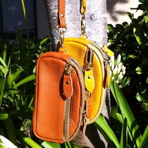 Clutches & Wallets - Yellow 3-pockets leather Clutch