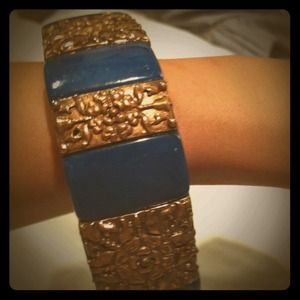 Turquoise bangle with gold accents